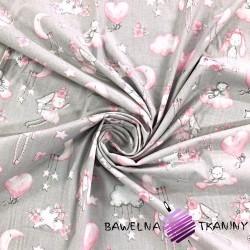 Bawełna przytulanki różowe na szarym tle