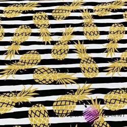 Wodoodporna tkanina złote ananasy na pasach biało czarnych tle