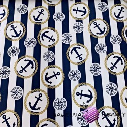 waterproof fabric sailor pattern on white and navy stripes