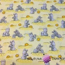 Bawełna króliki ze słoneczkami na żółtym tle