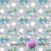 Bawełna słoniki niebieskie z gwiazdkami na szarym tle