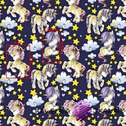 Cotton unicorns with yellow stars on a purple background