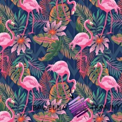Cotton pink flamingos on green & navy backgound