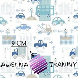 Bawełna samochody w mieście niebiesko miętowe na białym tle