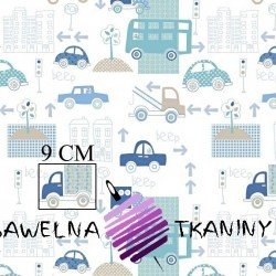 Cotton cars in the city of mint blue on a white background