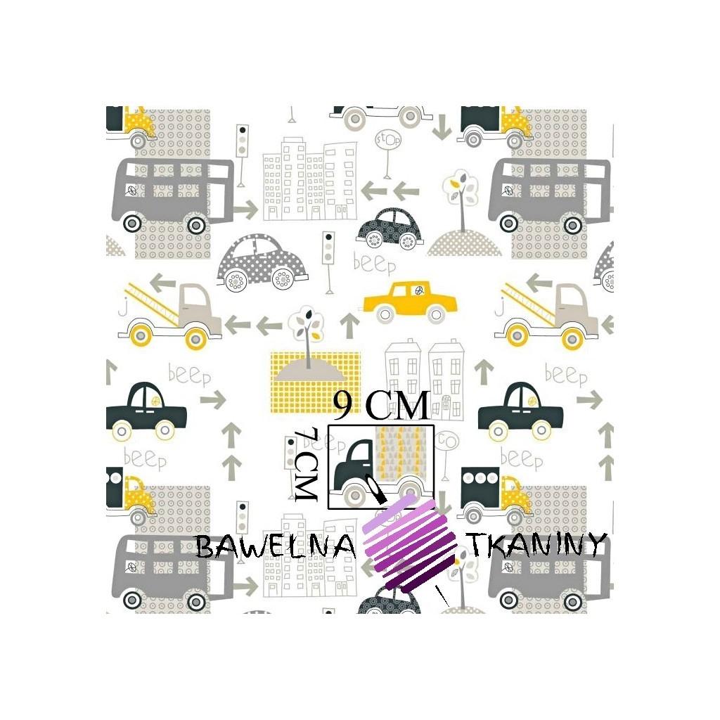 Bawełna samochody w mieście żółto szare na białym tle