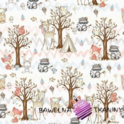 Cotton Indian pastel animals in the forest on white background
