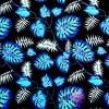 Bawełna liście niebieskie na czarnym tle