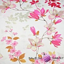 Bawełna kwiaty magnolia różowa na białym tle - 220 cm