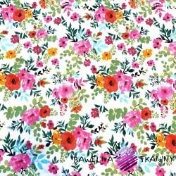 Bawełna kwiaty maki kolorowe na białym tle