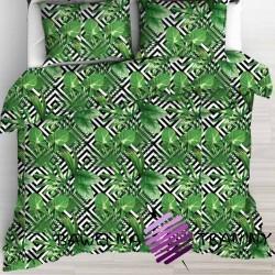 Bawełna liście palmowe zielone na czarnych rombach na białym tle