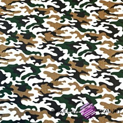 Cotton green, beige & white camouflage