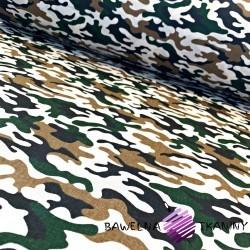 Bawełna wzór MORO mały zielono beżowo biały