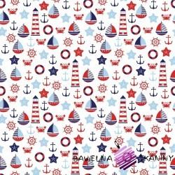 Bawełna marynarskie duże wzory czerwono granatowe na białym tle