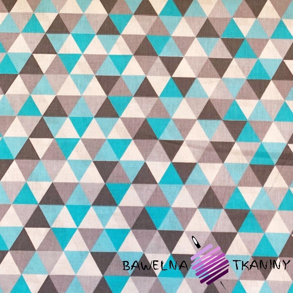Bawełna trójkąty małe szaro turkusowe na białym tle