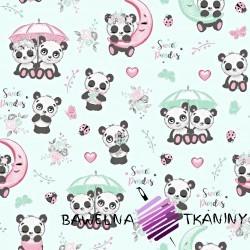 Bawełna pandy z parasolem na miętowym tle