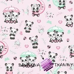 Bawełna pandy z parasolem na różowym tle