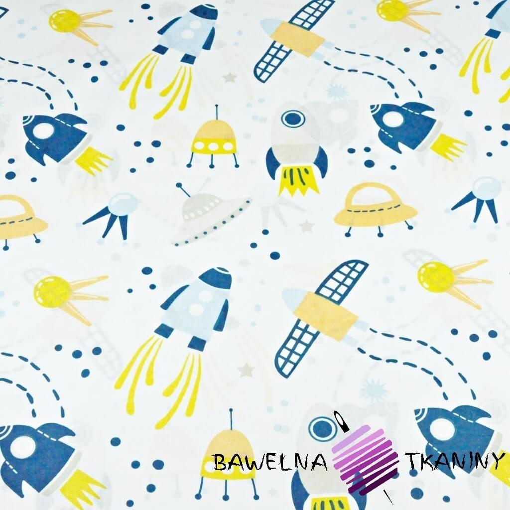 Bawełna kosmos niebiesko żółty na białym tle