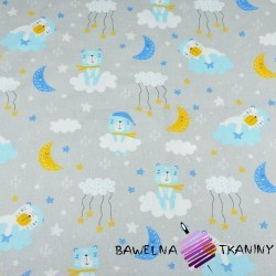 Cotton bears sleeping blue-yellow on a light gray background