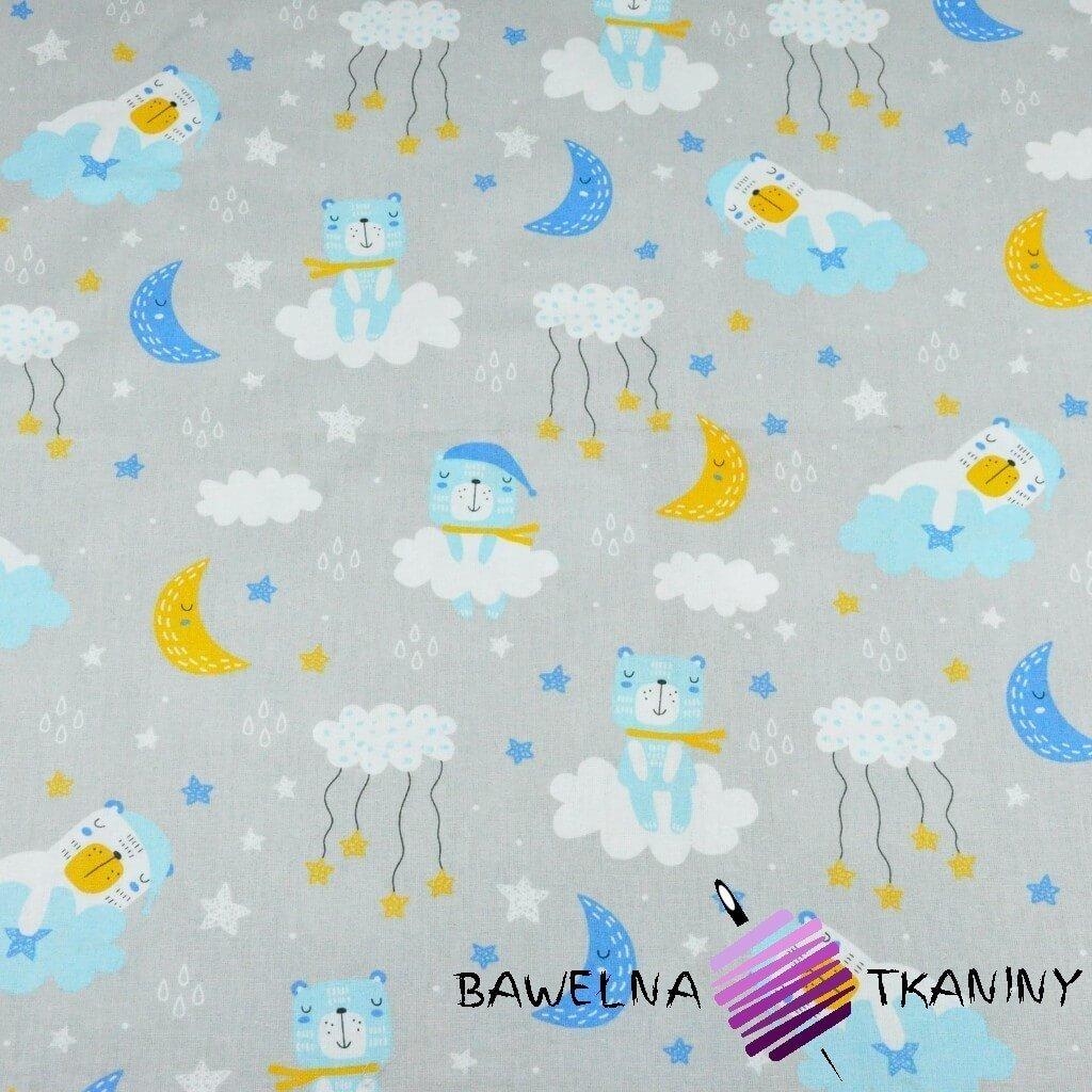 Bawełna misie śpiące niebiesko żółte na jasno szarym tle