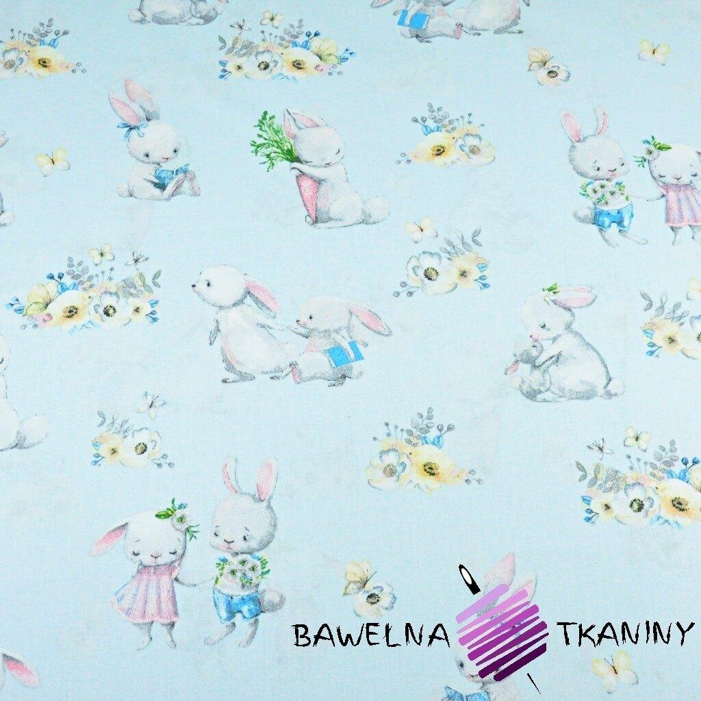 Bawełna zakochane króliki na niebieskim tle