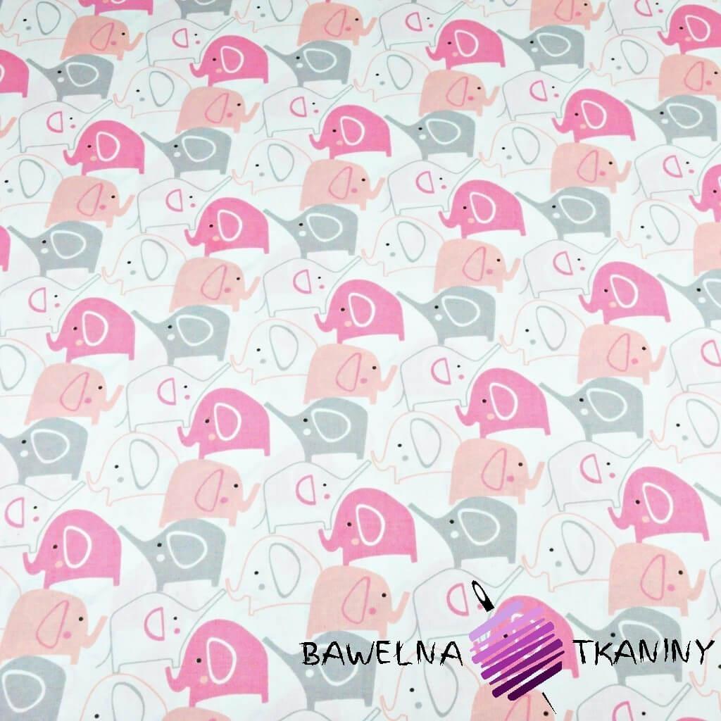 Bawełna słoniki szaro różowe na białym tle