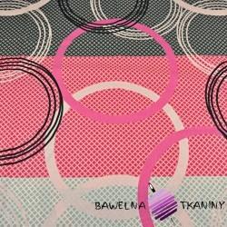 Bawełna koła szaro różowo czarne  - 220cm