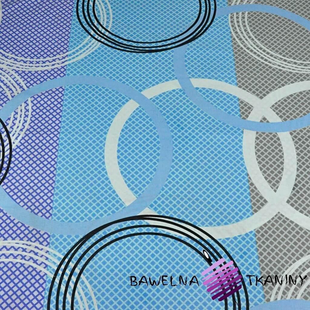 Bawełna koła niebiesko szaro fioletowe  - 220cm