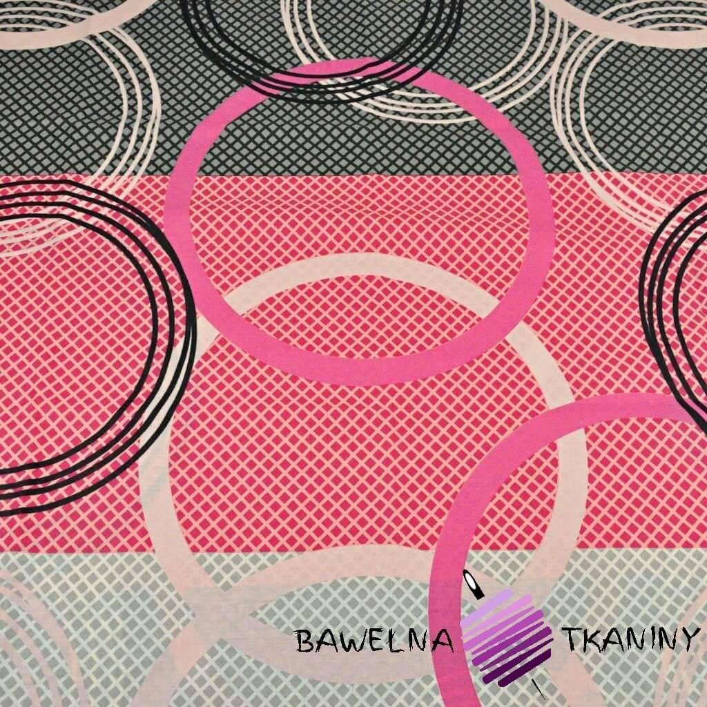 Bawełna koła szaro różowo czarne