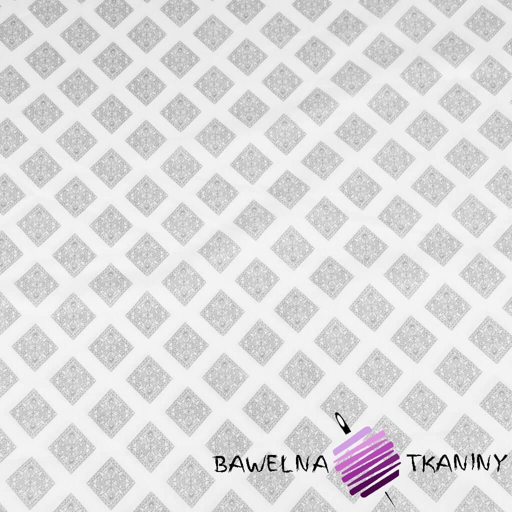 Bawełna geometryczna romby wzorzyste szare na białym