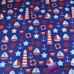 Cotton Marine patterns red gray on navy blue background