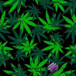 Dzianina Jersey druk cyfrowy liście konopii zielone na czarnym tle