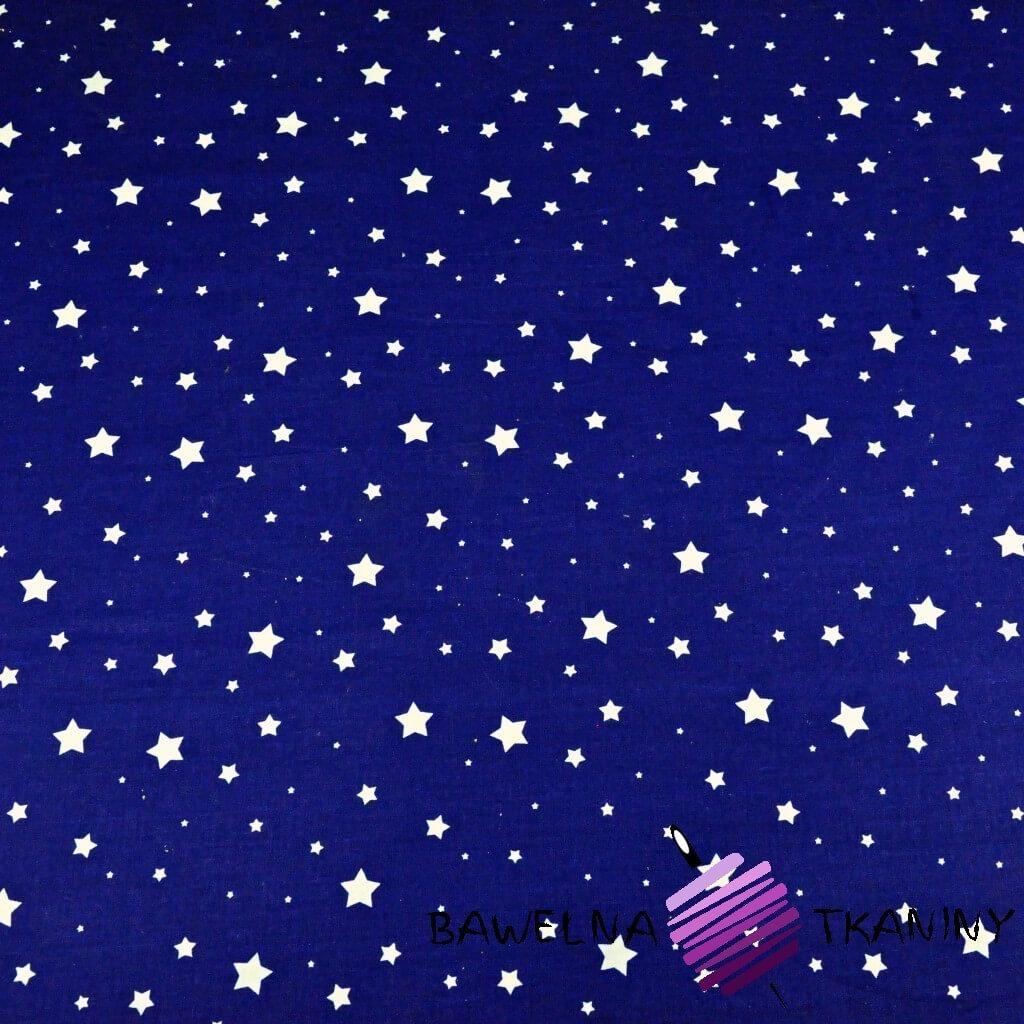 Bawełna gwiazdki MINI MAXI białe na granatowym tle