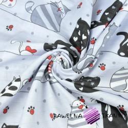 Muślin bawełniany koty szalone z czerwonym w pasach na szarym tle