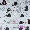 Muslin cloth crazy cats on gray background