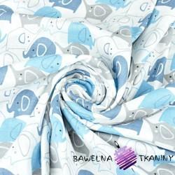 Muślin bawełniany słoniki niebiesko granatowe na białym tle