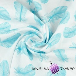Muslin cotton turquoise feathers on white background