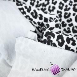 Dresówka pętelka - panterka brokatowa czarna na białym tle