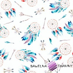 Cotton Jersey digital print - colorful dream catchers on white background
