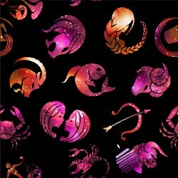 CottonJersey digital print of pink-orange zodiac signs on black background
