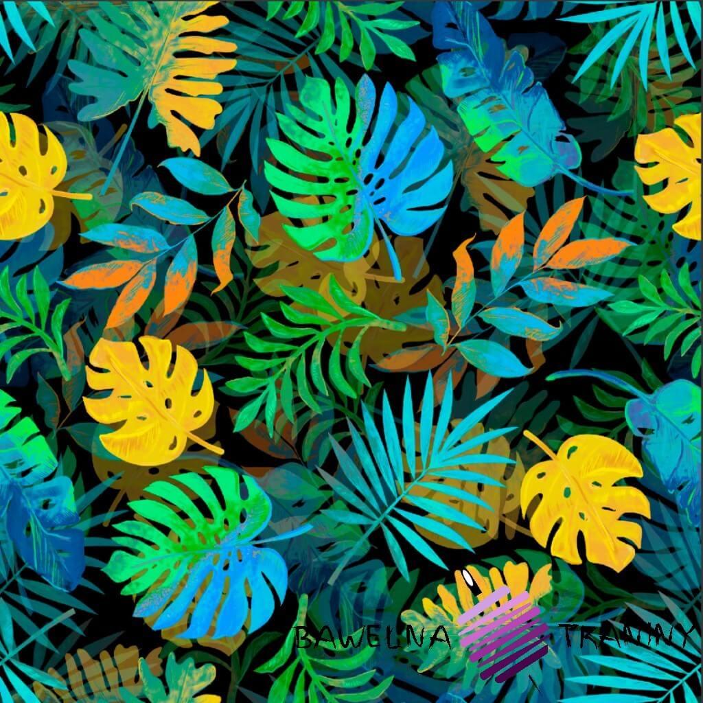 Dzianina Jersey druk cyfrowy liście niebiesko zielono żółte na czarnym tle