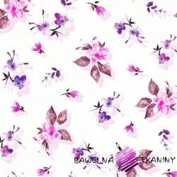 Dzianina Jersey druk cyfrowy kwitnąca wiśnia fioletowo różowa na białym tle