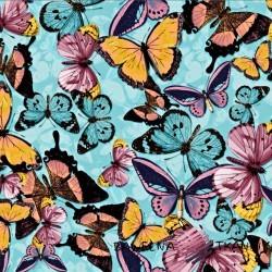 Dzianina Jersey druk cyfrowy motyle na niebieskim tle
