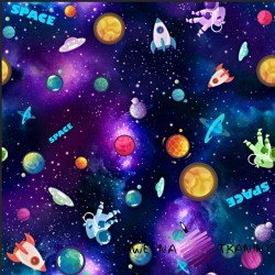 Cotton Jersey knit digital printing of space astronauts
