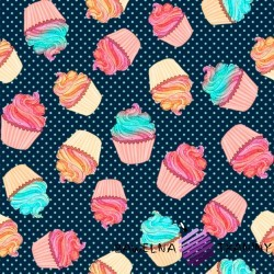 Cotton Jersey knit digital printing MINI cupcakes on a navy blue background