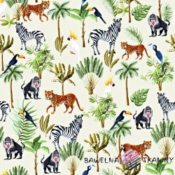 Cotton Jersey knit digital printing African animals on ecru background