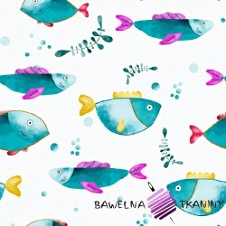 Dzianina Jersey druk morskie rybki na białym tle