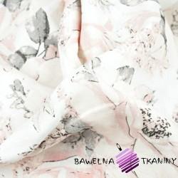 Muślin bawełniany dzika róża różowa na białym tle
