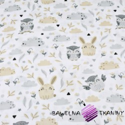 Muslin cloth owls with beige-gray bunnies on white background