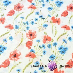 Muslin cloth poppies and cornflowers on white background